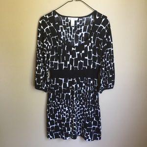 White House Black Market Black/White Sweater Dress